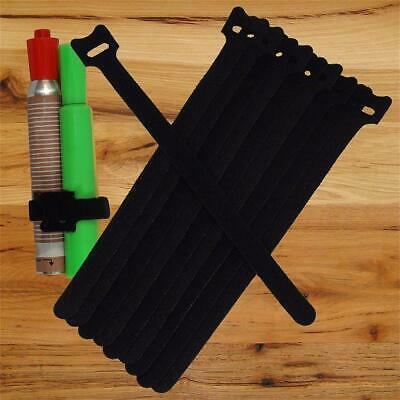 NEW 10PCS 20CM Cable Cord Ties Straps Wrap Hook And Loop Black Portable WT