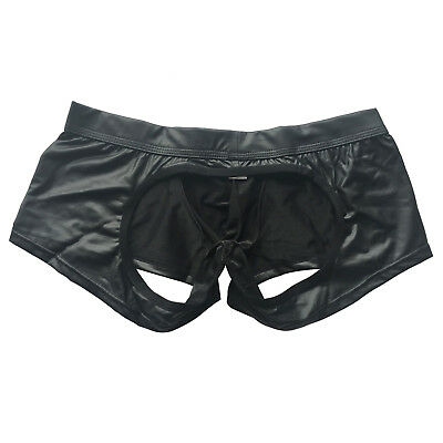 Men Leather Backless Underwear Boxer Briefs Jockstrap Shorts Knickers Sexy S-L