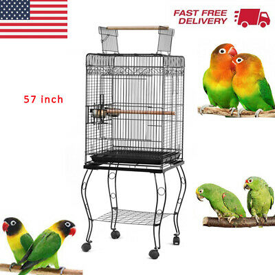 """23""""/37""""/57"""" Bird Cage Rolling Bird Cage Parakeet Finch Bird Hous Cage With Stand"""