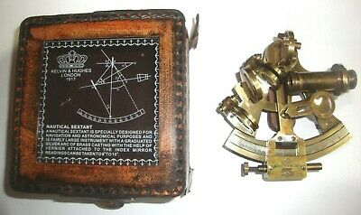 Antique Collectible Nautical Brass Working German Marine Sextant w/ Leather Box