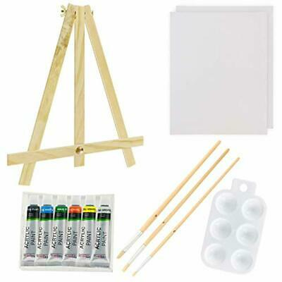 U.S. Art Supply 13-Piece Acrylic Artist Painting Set with Mini Table Easel, Canv