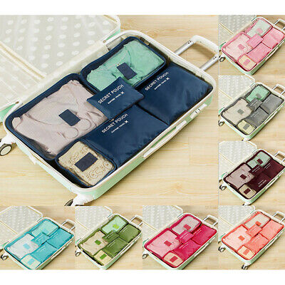 6Pcs Storage Bags Clothes Organizer Waterproof Travel Luggage Suitcase Cases