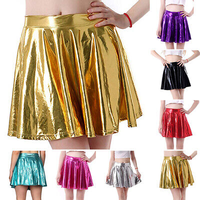 Sexy Women PVC Leather Wet Look Pleated Short Skirt Party Cocktail Clubwear M~XL