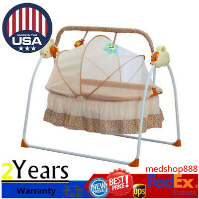 Electric Baby Crib Cradle Auto Swing Rocking Cot Sleeping Bed Blue w//timer music