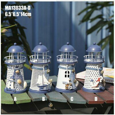Wrought Iron Lighthouse Candle Holder Innovative Ornament Home Office Decor QZ