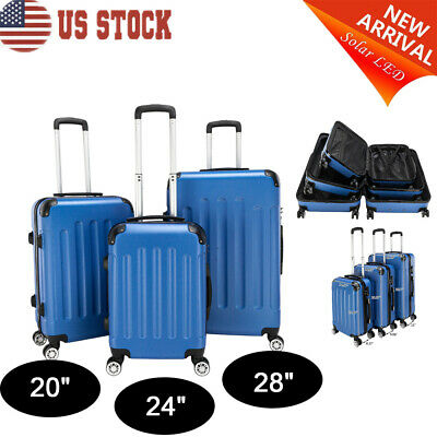 3x Travel Luggage Set Bag Trolley Spinner Portable Hard Shell ABS Suitcase Blue