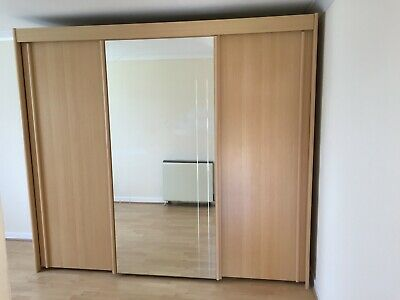 Wardrobe Large Oak Effect Sliding Doors Mirror Freestanding Flatpack 89h 99w 25d