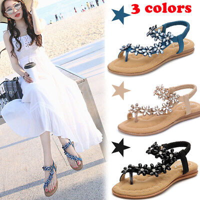 Ladies Womens Flat Low Wedge  Summer Beach Fashion Sandals Holiday Shoes 3-9