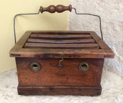 Antique French Wooden Foot Warmer  Kitchenalia  Lovely Small Storage Box