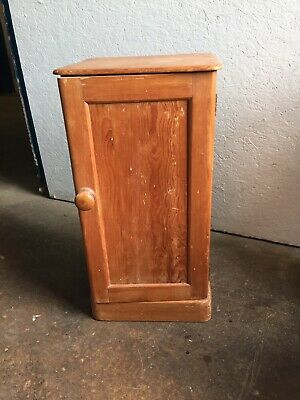 Antique Pine Pot Cupboard  / Bedside Table with shelf