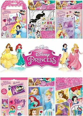 DISNEY PRINCESS COLOURING SEQUIN STICKERS ARTS CRAFT BUSY PACK TRAVEL ACTIVITY