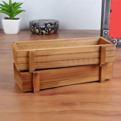 WO_ LX_ Rectangle Wooden Planter Box Garden Yard Flower Container Planting Pot N