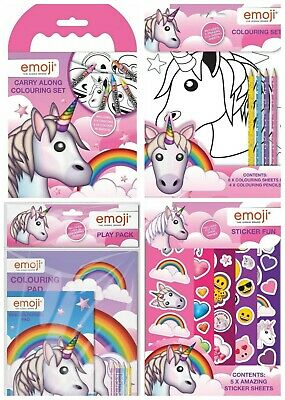 Emoji Unicorn Carry Along Colouring Book Set Crayons Picture Sheets Travel Pack