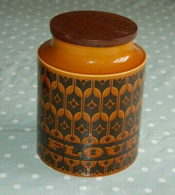 Hornsea Pottery Heirloom Brown Flour Storage Jar Cannister, New Rubber Seal.