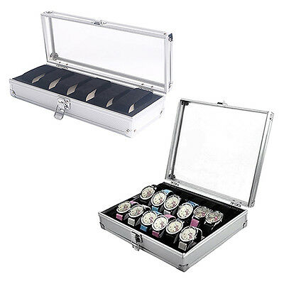 Wo_ Eg_ 6/12 Grid Slot Jewelry Watches Aluminium Alloy Display Storage Box Case