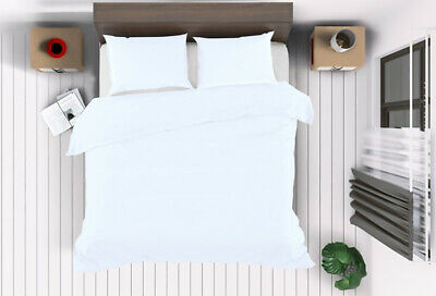 White Duvet Cover Set Plain Dyed Quilted Bedding Double Super King Size Bed Sets