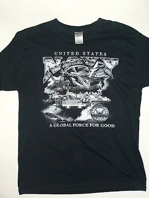 Jerzees US Navy Global Force Mens Large Graphic T Shirt Black Gray Short Sleeve