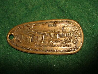 Early 1900s brass employee badge pass or key return #408 Skinner text Holyoke Ma