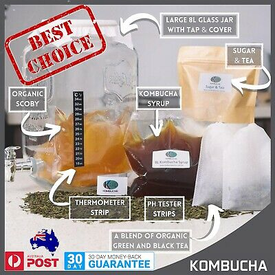 Kombucha Scoby, Brewing Kit with Easy Instructions, Glass Jar/Dispenser BPA FREE
