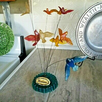 Vtg Mod Retro Lucite Acrylic Resin Swaying Motion Kinetic Birds Sculpture 60's