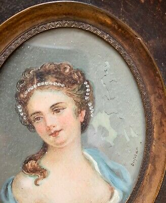 Antique French 19th Century Miniature Portrait of Noblewoman with Naked Breast