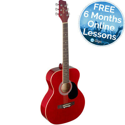 Stagg Auditorium Acoustic Guitar - Red - 6 Months Free Online Lessons