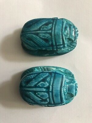 2x_Egyptian Pharaoh Scarab Paperweight Sculpture, Hand Carved ceramic, (4x3) Cm