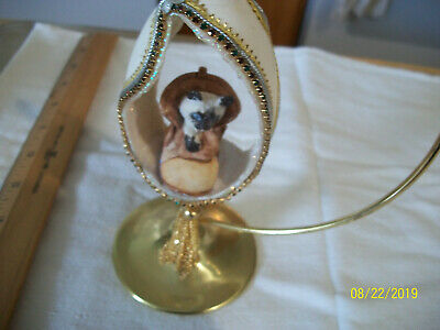 Egg Shaped Ornated Stand With Inside Egg A Kitten In A  Shoe