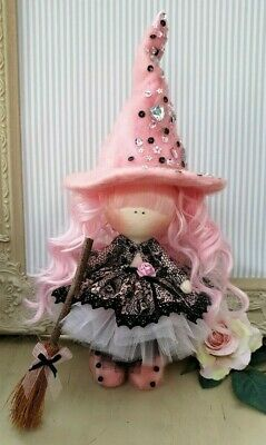 Halloween witch Rag doll UK made Tilda doll Art doll WILLOW 8 inch tall