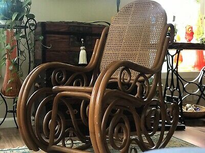 VINTAGE THONET STYLE Scroll BOHO CANE BENTWOOD Bamboo ROCKING CHAIR ROCKER