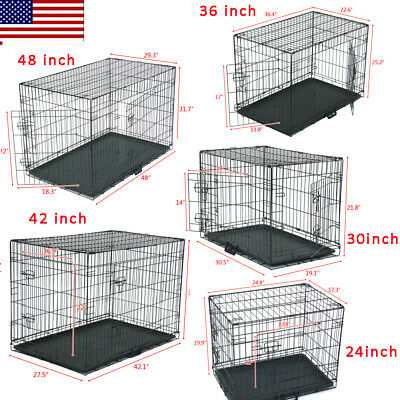 """48""""/42""""/36""""/30"""" Dog Crate Kennel Folding Metal Pet Cage 2Door Divider Tray Pan"""