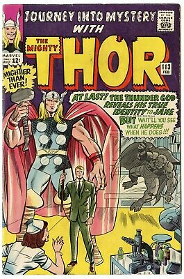 Journey into Mystery #113 VF+ 8.5 white pages  Thor  Marvel  1965  No Reserve