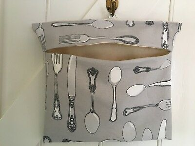 Handmade Fabric Peg Bag Silver Cutlery On Grey With Canvas Lining/Wooden Hanger