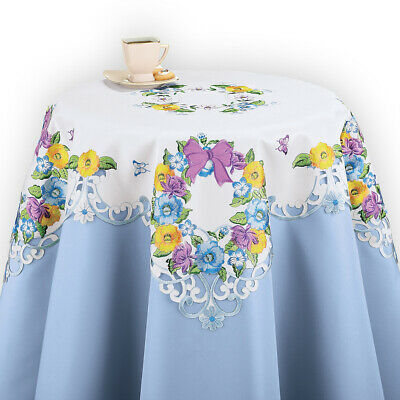 Spring Table Linens with Embroidered Floral Wreath