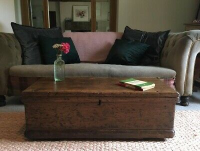 Old ANTIQUE PINE CHEST, Wooden Blanket TRUNK, Coffee TABLE, Vintage Storage Box.