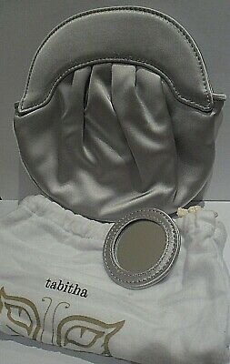 Ladies Vintage Designer Signed Tabitha Silver Satin Clutch Bag + Mirror & Case