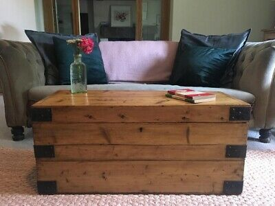 Old Antique PINE CHEST, Wooden Blanket TRUNK, Coffee TABLE, Vintage BOX & KEY!