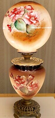 """Antique Victorian Gone With The Wind Banquet Parlor 3-way Lamp Hand Painted 24"""""""