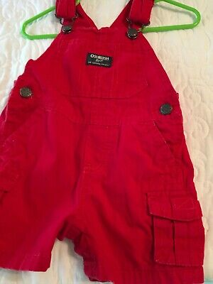 Great Pre-owned Boy's Oshkosh 12 Mos Red Short Overalls