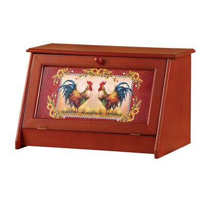 Sunflower Rooster Bread Storage Container Box for Kitchen