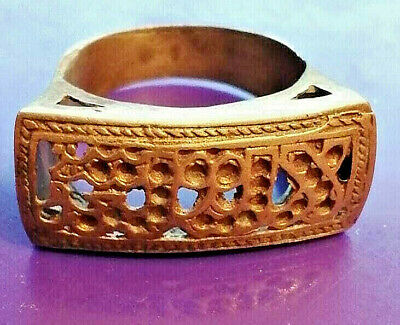 Rare Ancient Medieval Islamique Bronze Ring Beautiful Very Stunning