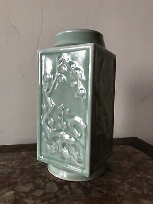 Antique Chinese Qing Imperial porcelain Celadon Glazed Square vase Raised Floral