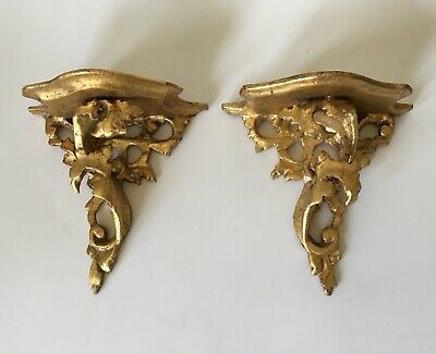Pair Vintage Italian Florentine Gilt Gold Hand Carved Wood Shelves