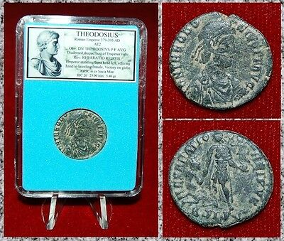 Ancient Roman Empire Coin Of Theodosius Emperor Holding Globe And Labarum