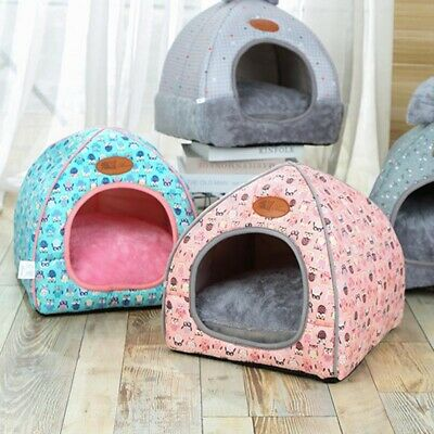 Cute Dog Cat Kennel House Igloo Soft Padded Fleece Winter Warm Bed For Pet House