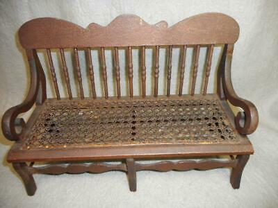 "Antique 19Th Century Cane Seat  Bench 13"" By 6"" By 9"" Great Patina All Orig."