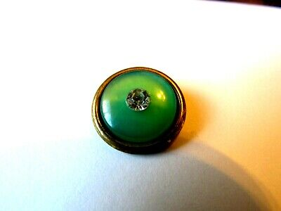 """Antique French Weskit Button Moonglow Green Glass+Clear Crystal Rhinestone- 3/4"""""""