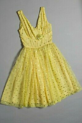 Vintage 1950s dress, size 8-10, gold polka dots on yellow, glam rock, a stunner
