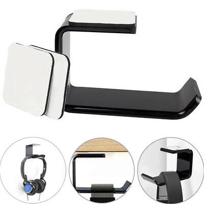 Under Desk Dual Headset Mount Holder Acrylic Headphone Stand Hanger With Tapes