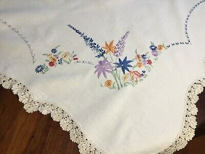 Antique Handmade linen suppercloth Floral
